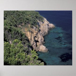 Europe, Italy, Tuscany. Rocky coast; Cala Poster