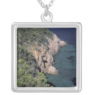 Europe, Italy, Tuscany. Rocky coast; Cala Square Pendant Necklace