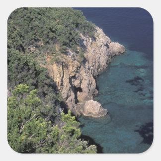 Europe, Italy, Tuscany. Rocky coast; Cala Square Sticker