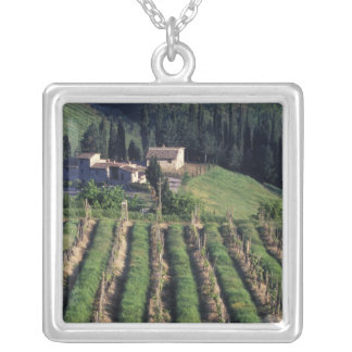 Europe, Italy, Tuscany. Scenic villa cyprus. Silver Plated Necklace