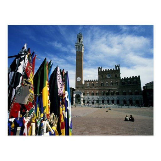 Europe, Italy, Tuscany, Siena. Piazza del Postcard