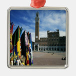 Europe, Italy, Tuscany, Siena. Piazza del Silver-Colored Square Decoration