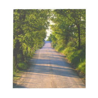 Europe, Italy, Tuscany, tree lined road Notepad