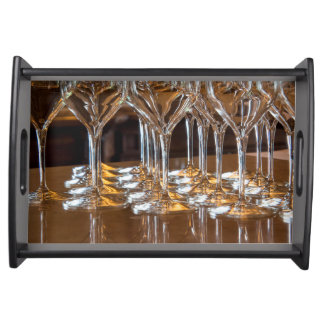 Europe, Italy, Tuscany. Wine glasses in a winery Serving Tray