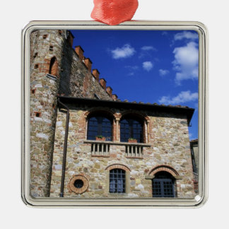 Europe, Italy, Umbria, Chianti, Montebenichi. Silver-Colored Square Decoration