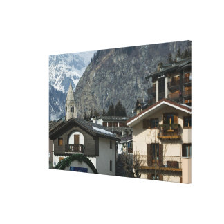 Europe, Italy, Valle d'Aosta, COURMAYEUR: Town Canvas Print