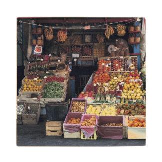 Europe, Italy, Venice area. Colorful fruits and Maple Wood Coaster