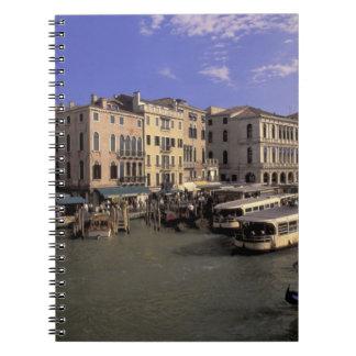 Europe, Italy, Venice, Boat traffic by Rialto Notebook