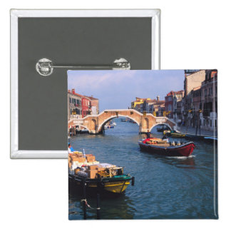 Europe, Italy, Venice. Boats bringing in 15 Cm Square Badge