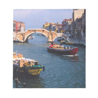 Europe, Italy, Venice. Boats bringing in Notepad