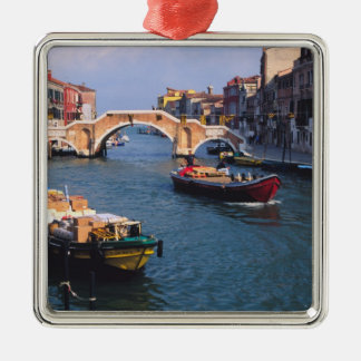 Europe, Italy, Venice. Boats bringing in Silver-Colored Square Decoration
