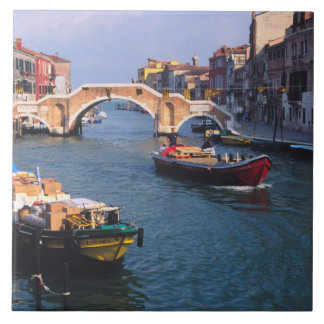 Europe, Italy, Venice. Boats bringing in Tile