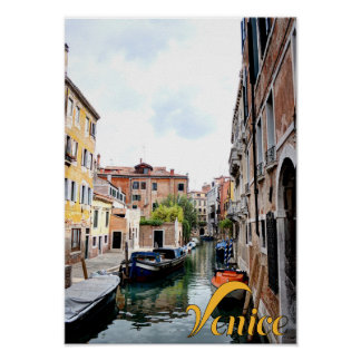 Europe Italy Venice Canal Boat Poster