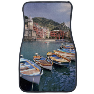 Europe, Italy, Vernazza. Brightly painted boats Car Mat
