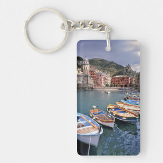 Europe, Italy, Vernazza. Brightly painted boats Double-Sided Rectangular Acrylic Key Ring