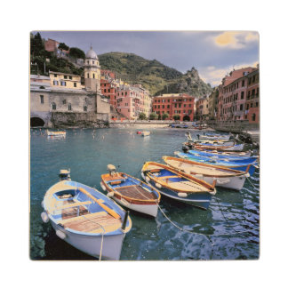 Europe, Italy, Vernazza. Brightly painted boats Maple Wood Coaster
