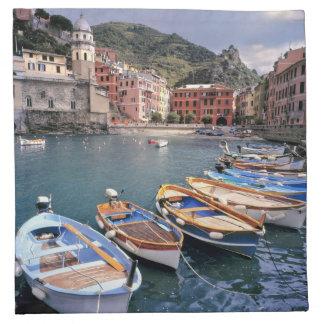 Europe, Italy, Vernazza. Brightly painted boats Napkin