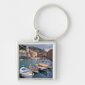 Europe, Italy, Vernazza. Brightly painted boats Silver-Colored Square Key Ring