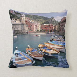 Europe, Italy, Vernazza. Brightly painted boats Throw Pillow