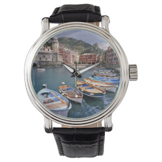 Europe, Italy, Vernazza. Brightly painted boats Wristwatches