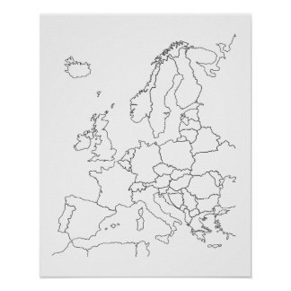Europe Map Blank Outline Poster