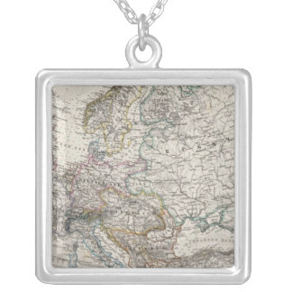 Europe Map by Stieler Silver Plated Necklace