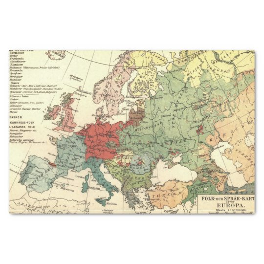 Europe Map Countries World Vintage Tissue Paper