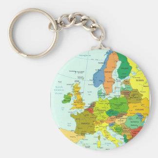 Europe map key ring