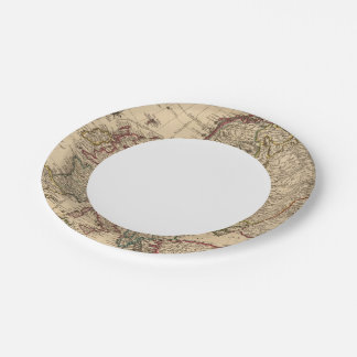 Europe map paper plate