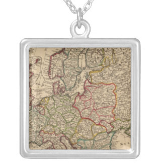 Europe map silver plated necklace