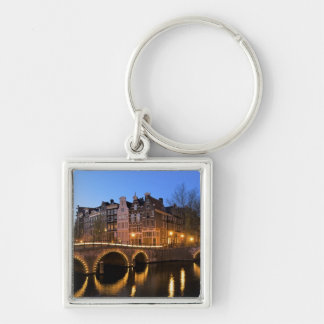 Europe, Netherlands, Holland, Amsterdam, Silver-Colored Square Key Ring