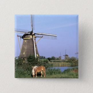 Europe, Netherlands, Zuid Holland, Kinderdijk. 2 15 Cm Square Badge