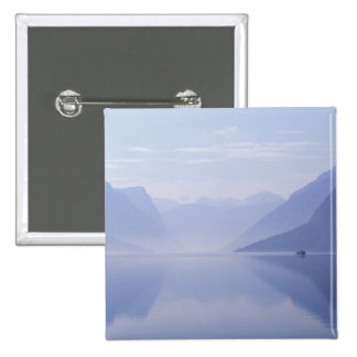 Europe, Norway. Vertical walls reflected in 15 Cm Square Badge
