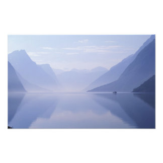 Europe, Norway. Vertical walls reflected in Photo Print