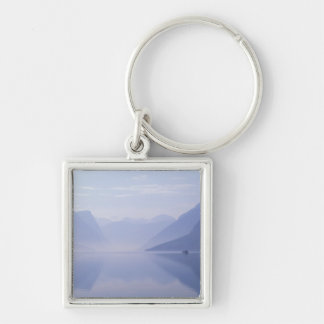 Europe, Norway. Vertical walls reflected in Silver-Colored Square Key Ring