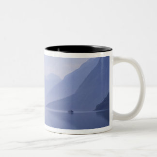 Europe, Norway. Vertical walls reflected in Two-Tone Coffee Mug