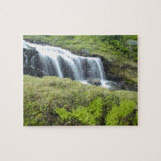 Europe, Norway. Waterfall. Jigsaw Puzzle
