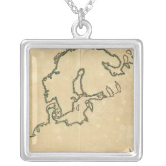Europe Outline 2 Silver Plated Necklace