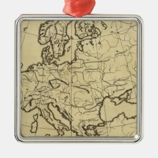 Europe outline map christmas ornament