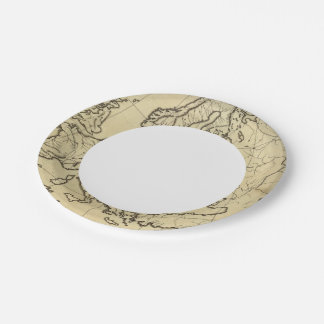 Europe outline map paper plate