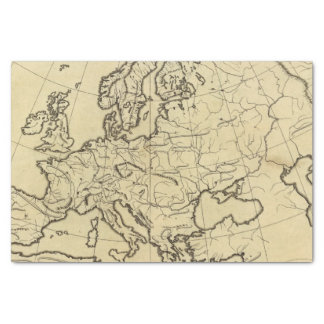 Europe outline map tissue paper