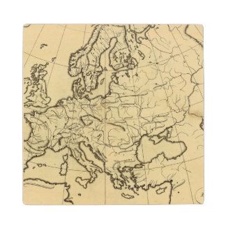 Europe outline map wood coaster