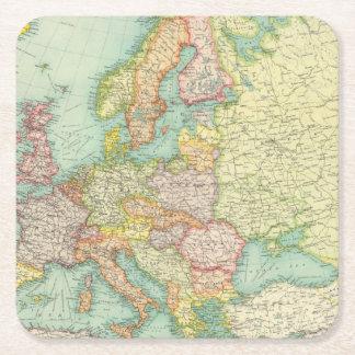 Europe political Map Square Paper Coaster