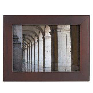 Europe, Portugal, Lisbon. Columns Of The Arcade Keepsake Box