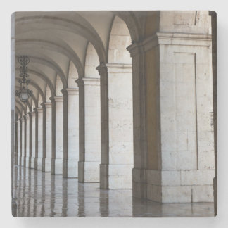 Europe, Portugal, Lisbon. Columns Of The Arcade Stone Coaster