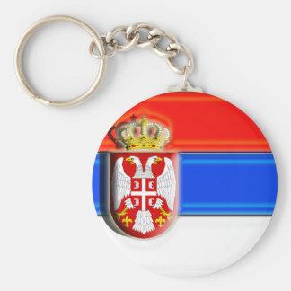 Europe: Serbia (artist flag) Basic Round Button Key Ring