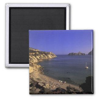 Europe, Spain, Balearics, Ibiza, Cala d'Hort Square Magnet