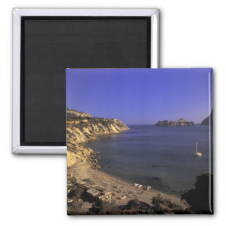 Europe, Spain, Balearics, Ibiza, Cala d'Hort Square Magnet