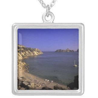 Europe, Spain, Balearics, Ibiza, Cala d'Hort Square Pendant Necklace