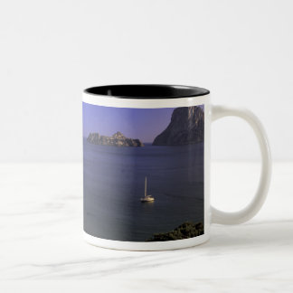 Europe, Spain, Balearics, Ibiza, Cala d'Hort Two-Tone Coffee Mug